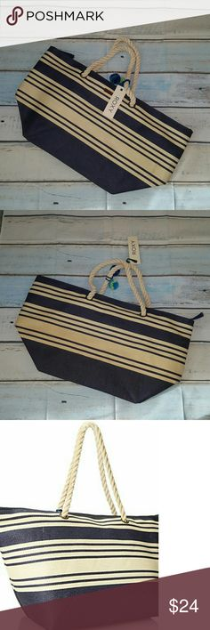 """Roxy Soul and Sand Beach Tote The perfect beach tote for hitting the sand and watching the surf come up in style Straw textile material Twin carry handles Zippered main compartment with tassel detail Interior organization 20.5""""Lx3.5""""Wx15""""H Roxy Bags Totes"""