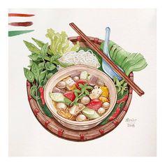 Food art by lerin_illustration Food Graphic Design, Food Design, Food Illustrations, Illustration Art, Pinterest Instagram, Food Sketch, Watercolor Food, Thai Art, Vietnamese Recipes