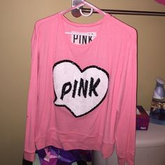 PINK Victoria's Secret Shirt Pink and comfy! Price negotiable! Barely worn and in great condition! Practically brand new Victoria's Secret Tops Sweatshirts & Hoodies