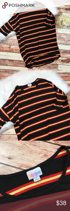 Lularoe striped Irma tunic Size large. In excellent like new condition! No flaws or any signs of wear! Perfect for fall! Length-31, bust-27 pit to pit ***NO modeling or trades!! ::550 LuLaRoe Tops Tunics