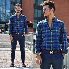 Gant Shirt, Hermës Belt, Rumjungle Pants, Zara Shoes - Blue-Green-Burgundy - Alessio Convito
