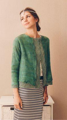"Felted jacket / Валяный жакет ""Зеленое кружево"" - зеленый, однотонный, зеленый жакет, пиджак женский"