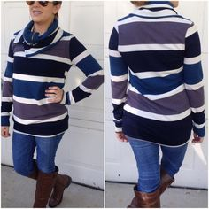 2 left❗️Warm & cozy Cowl neck tops Please do not purchase this listing. Comment with size and I will create a new listing for you.                                                     Bold Stripe print tops with button details zippered cowl neck. Price is firm unless bundled. 1 small & 1 medium Sweaters Cowl & Turtlenecks