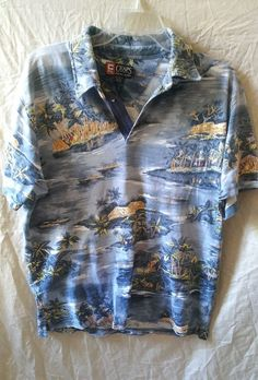 Chaps Ralph Lauren Men's Size Large Polo Golf Vacation Shirt Palm Tree Tropical #ChapsRalphLauren #PoloRugby