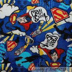 BonEful Fabric FQ Cotton Flannel Marvel Super*Man*Hero Star Cape Lg DC Comic Boy