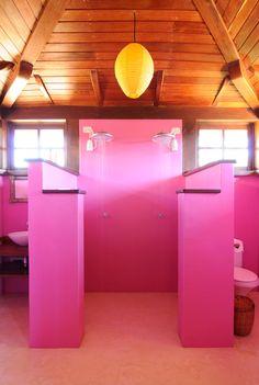 Happy shower in the home of designers Robert and Cortney Novogratz in Tancroso Brazil