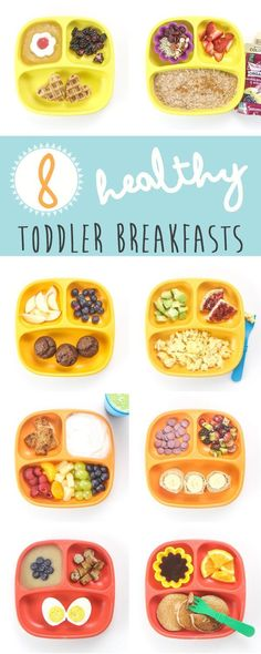 8 Healthy Toddler Breakfasts are not only super fast to make but they are also filled with protein and fiber as well as other essential vitamins and minerals for growing toddlers! They are also so good, that they will be on repeat at your house for weeks. Healthy Toddler Lunches, Healthy Toddler Breakfast, Healthy Meals For Toddlers, Breakfast Ideas For Toddlers, Baby Breakfast, Breakfast Quesadilla, Best Food For Toddlers, Healthy Breakfast On The Go For Kids, Finger Foods For Toddlers