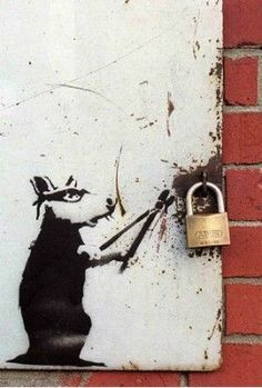 Because there is an actual padlock in the piece it makes the graffiti look more realistic. Banksy often uses real objects around the graffiti. Banksy Graffiti, Street Art Banksy, 3d Street Art, Graffiti Kunst, Graffiti Artwork, Urban Street Art, Graffiti Painting, Amazing Street Art, Street Artists