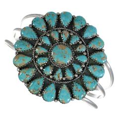 Southwestern Turquoise And Genuine Sterling Silver Cuff Bracelet WX75502