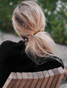 Brass Gold Hair Barrette Minimalist Ponytail