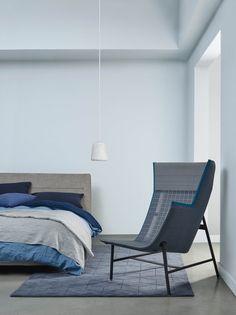 Wave after wave Matt Emulsion. Blue Bedroom Elle Decoration by Crown Waves After Waves, Basket Lighting, Interior Decorating, Interior Design, Cool Beds, Blue Walls, Elle Decor, Scandinavian Design, Colorful Interiors