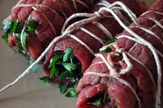 Bracciole! Best use of flank steak. Perfect with Ghost Pines Merlot. Venue: Romantic winter dinner.