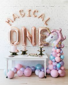Ringing in your birthday calls for a unique and beautiful moment! Our balloon arch and letters can dress up any space and make a statement. Unicorn Birthday Decorations, Unicorn Themed Birthday, Birthday Garland, Girl Baby Shower Decorations, Balloon Decorations Party, Girl First Birthday, Birthday Balloons, Unicorn Party, First Birthday Parties