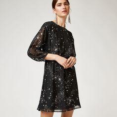 Warehouse, SPARKLE STAR DRESS Black Pattern 3
