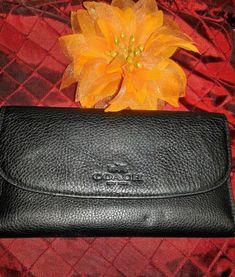Coach Wallet Trifold Black Pebble Leather Horseman Trademark Frontal Logo #Coach #Trifold