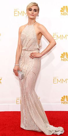 Taylor Schilling chooses an ivory halter courtesy of Zuhair Murad.
