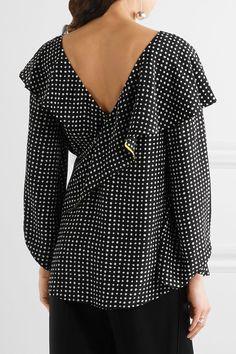 Diane von Furstenberg - Ruffled Polka-dot Silk Crepe De Chine Wrap Top - Black - US14