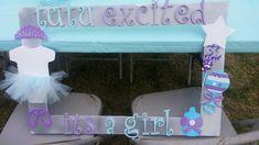 Tutu purple and aqua baby shower photo frame