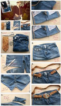 Chic Bag Made of Old Jeans DIY A short and sweet tutorial on how to turn a pair of old denim jeans into a nice purse or tote bag. The post Chic Bag Made of Old Jeans DIY appeared first on Denim Diy. Cut Up Shirts, Old Shirts, Denim Shirts, Tee Shirt Fila, Artisanats Denim, Denim Bags From Jeans, Raw Denim, Blue Denim, Jean Diy