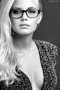 blonde #glasses #fashion #black #white #glamour