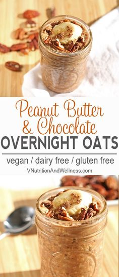Peanut Butter Chocolate Overnight Oats |  An easy and delicious breakfast or snack. vegan, recipe, breakfast via @VNutritionist