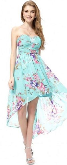 Pink and Aqua Blue Strapless High-Low Floral Dress