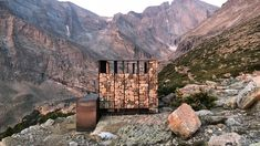 This school show of work from the University of Colorado Denver's College of Architecture and Planning includes a high-altitude lavatory with gabion walls. Workshop Architecture, Architecture Student, Colorado College, University Of Colorado, Rocky Mountains, Small Solar Panels, Timber Buildings, Prefabricated Houses, Solar Projects