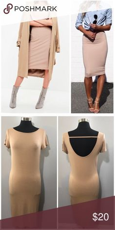 NUDE • T Shirt Midi Dress This dress is brand new without tags. I have size medium and large also available. Stretchy Rayon Jersey material. Backless. Dresses Midi