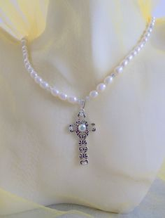 Pewter Filigree Cross With Swarovski Crystals by ShadowoftheCross