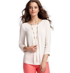 Box Pleat 3/4 Sleeve Blouse