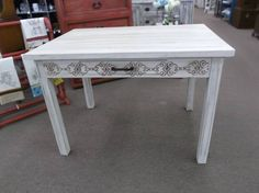 SOLD - This is a solid wood desk on table with a single drawer painted- stenciled- hand waxed - great look! ***** In Booth A8 at Main Street Antique Mall 7260 E Main St (east of Power RD on MAIN STREET) Mesa Az 85207 **** Open 7 days a week 10:00AM-5:30PM **** Call for more information 480 924 1122 **** We Accept cash, debit, VISA, Mastercard, Discover or American Express