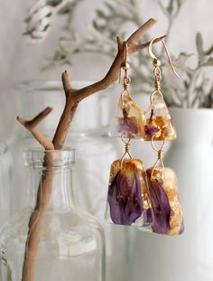 Purple Geometric Eco Friendly Resin Jewelry Drop Earrings with Pressed Flowers and Gold Leaf