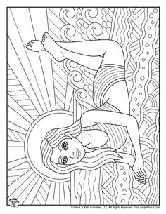 Summer Teen Coloring Pages | Woo! Jr. Kids Activities Summer Coloring Pictures, Beach Coloring Pages, Free Adult Coloring Pages, Coloring Pages For Girls, Coloring Pages To Print, Free Printable Coloring Pages, Colouring Pages, Coloring Sheets, Coloring Books