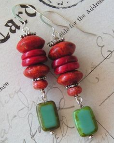 Scarlet Layers / Red Coral, Sponge Coral, Czech Beads, Sterling