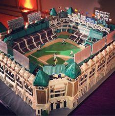 Texas Rangers Baseball Stadium Wedding Cake - Rangers Ballpark in Arlington  #baseballwedding