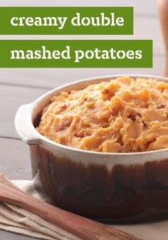 Creamy Double Mashed Potatoes — Double doesn't mean twice mashed: It means two kinds of potatoes for double flavor in this healthy living recipe that even includes bacon! Perfect for holidays.