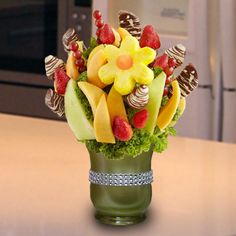 Sweet Daisy With Apple Wedges - Juicy strawberries, dipped strawberries with white chocolate and drizzled, daisy shaped pineapple slices with a cantaloupe center, honeydew melon and cantaloupe wedges, dipped apple wedges with white swirls, grape skewers and more. You can create your own edible fruit arrangements. Price starts from $30  http://www.VaaV.ca