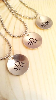 HAND STAMPED JEWELRY  Monogram Pendant with 18 by AGlassofHarmony, $8.00