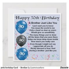 Shop birthday Card - Brother created by Lastminutehero. 30th Birthday Cards, Birthday Cards For Brother, Happy 30th Birthday, Birthday Greeting Cards, Brother Poems, Son Poems, Brother Gifts, You Mean The World To Me, Custom Greeting Cards