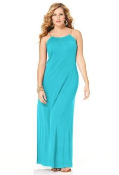 Solid color maxi dresses for full figures