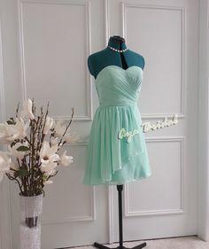 Handmade Custom Size at no extra charge Strapless Bridesmaid dress, chiffon knee length Mint green Dress on Etsy, $83.16 AUD