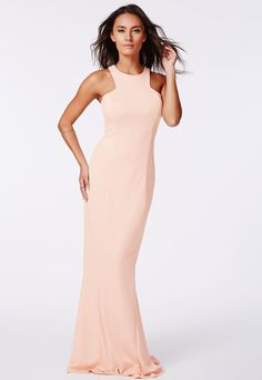 Nude High Neck Maxi Dress