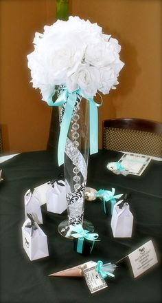 """Photo 1 of 28: Damask and Tiffany Blue / Baby Shower/Sip & See """"Nessy's Baby Shower"""" 