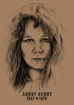 Sandy Denny - A3 - Print - Hand Drawn Portrait signed by Artist - (Black on Sepia Card or Sepia on Cartridge Paper) #icons #HandDrawnPortrait #Portrait #BillTaylorBeales #Art #SandyDenny #PencilPortrait #CommissionedArt #Drawn #Portrait