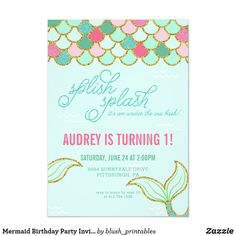 Shop Mermaid Birthday Party Invitation - Gold Glitter created by blush_printables. Personalize it with photos & text or purchase as is! Glitter Birthday Parties, 13th Birthday Parties, Birthday Ideas, Summer Birthday, Gold Birthday, Birthday Bash, Mermaid Invitations, Gold Invitations, First Birthday Invitations