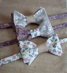 Wedding Bow Ties With Burlap Accents / by CarolynnRedwineGeer, $58.00