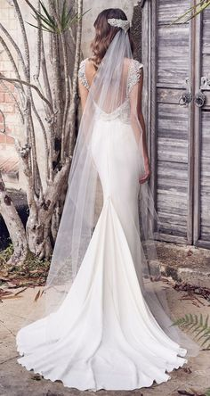 anna campbell 2019 bridal cap sleeves v neck heavily embellished bodice glitzy romantic sheath wedding dress backless scoop back chapel train 3 bv - Anna Campbell 2019 Wedding Dresses Wedding Inspirasi Gorgeous Wedding Dress, New Wedding Dresses, Bridal Dresses, Bridesmaid Dresses, Anna Campbell Bridal, Sheath Wedding Gown, Vintage Inspiriert, Bridal Collection, Marie