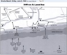 Omaha Beach, D-Day, 10:00 A.M. - Saint-Laurent-sur-Mer. As Balkoski's map indicates, after meeting at the top of the hill, Dawson's company moved south towards Colleville while Spalding's company headed west towards the well-disguised WN 64 stronghold.