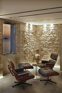 Stone walls By Architect Giorgio Zaetta  Living Room Private Residence in Croatia