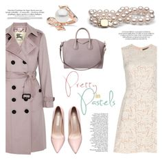 """Pretty Pastel Trench Coats"" by pearlparadise ❤ liked on Polyvore featuring Burberry, Alexander McQueen, Givenchy, women's clothing, women, female, woman, misses, juniors and contestentry"